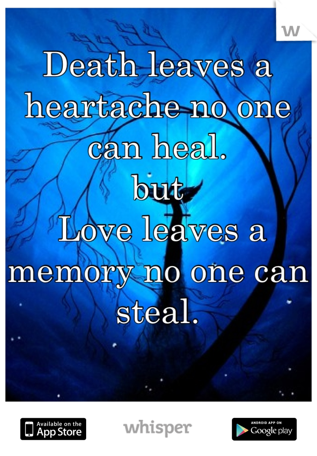 Death leaves a heartache no one can heal. but  Love leaves a memory no one can steal.