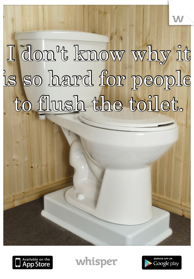 I don't know why it is so hard for people to flush the toilet.