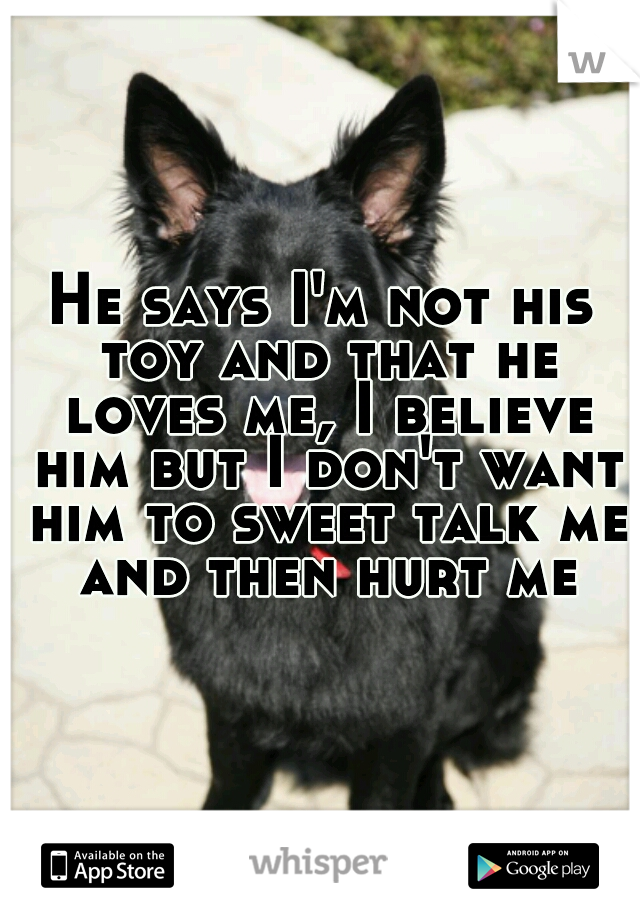 He says I'm not his toy and that he loves me, I believe him but I don't want him to sweet talk me and then hurt me