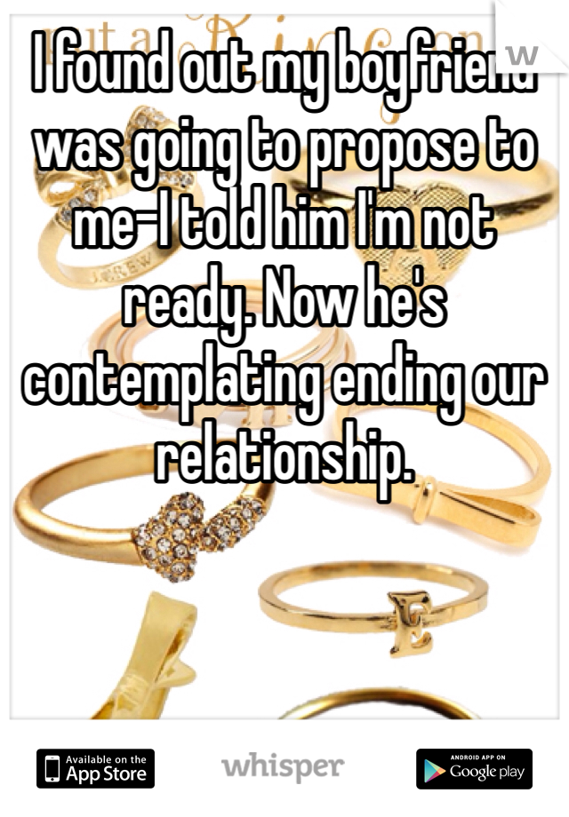 I found out my boyfriend was going to propose to me-I told him I'm not ready. Now he's contemplating ending our relationship.