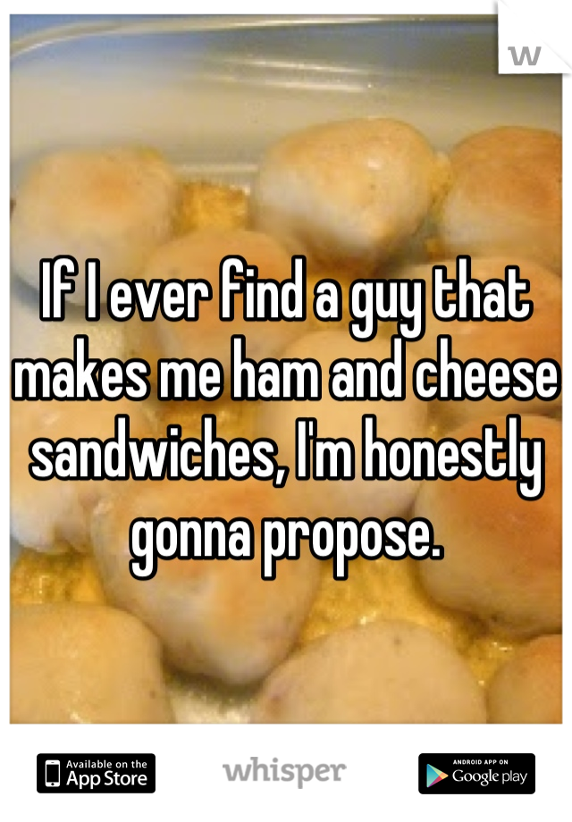If I ever find a guy that makes me ham and cheese sandwiches, I'm honestly gonna propose.