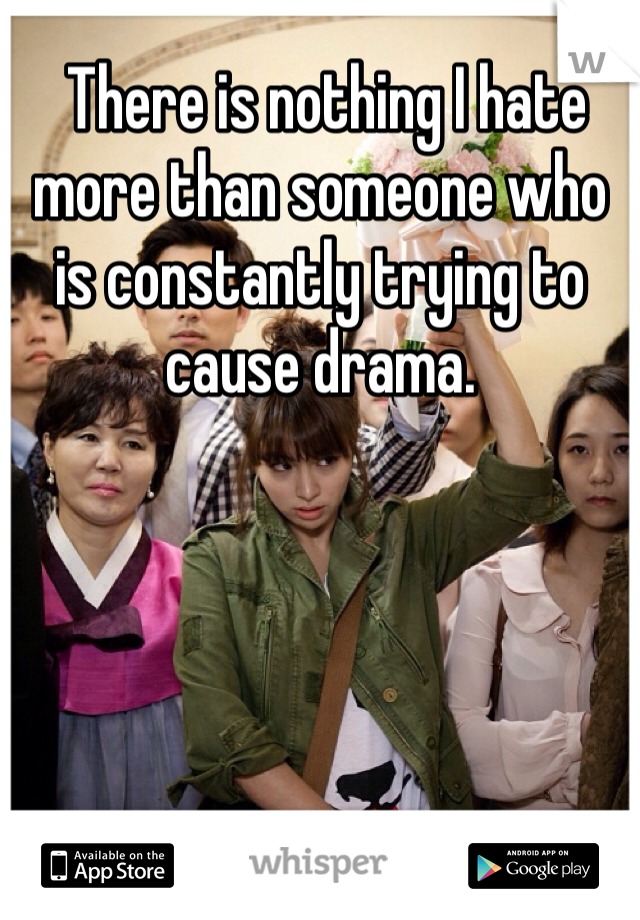 There is nothing I hate more than someone who is constantly trying to cause drama.