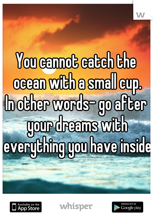 You cannot catch the ocean with a small cup. In other words- go after your dreams with everything you have inside.