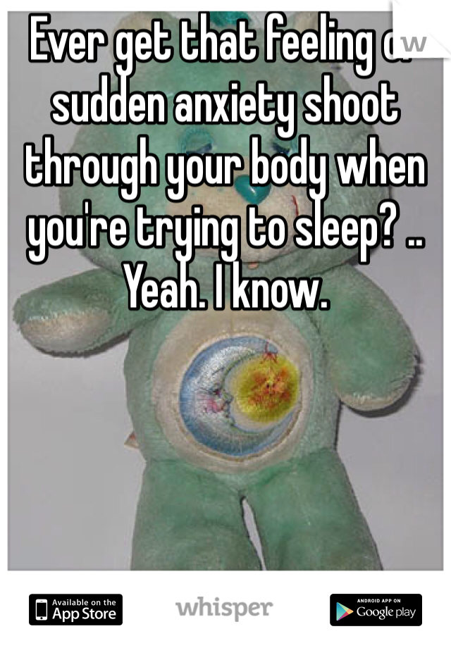 Ever get that feeling of sudden anxiety shoot through your body when you're trying to sleep? .. Yeah. I know.
