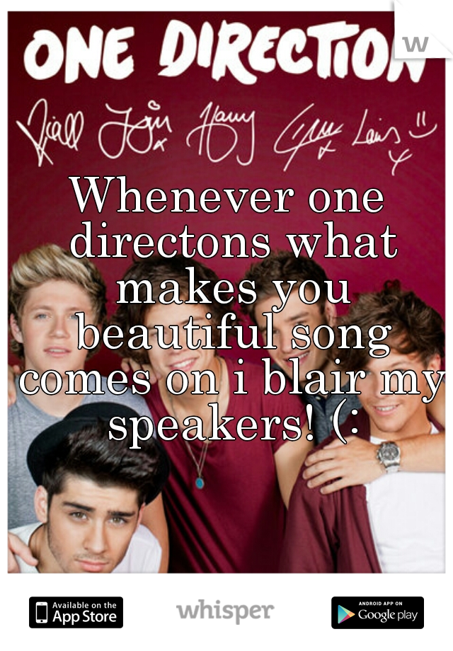 Whenever one directons what makes you beautiful song comes on i blair my speakers! (: