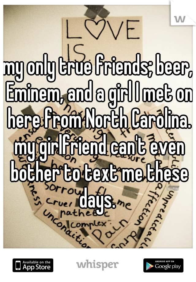 my only true friends; beer, Eminem, and a girl I met on here from North Carolina. my girlfriend can't even bother to text me these days.