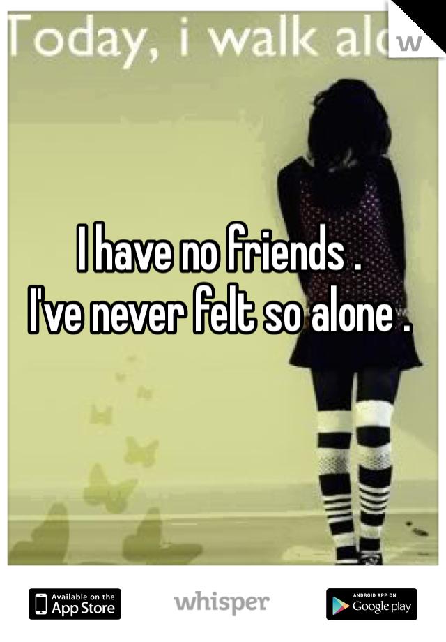 I have no friends .  I've never felt so alone .