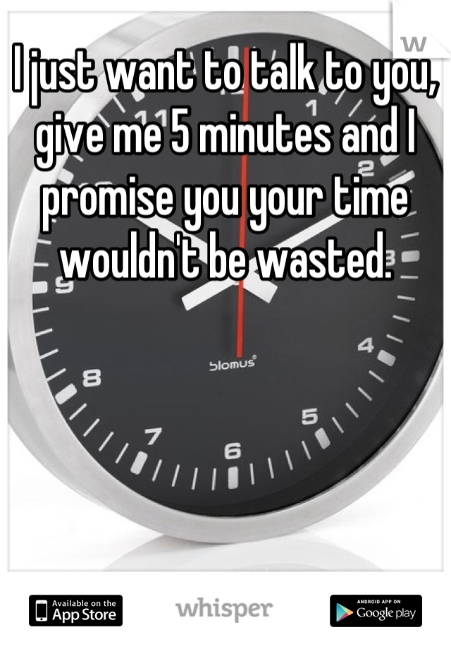 I just want to talk to you, give me 5 minutes and I promise you your time wouldn't be wasted.