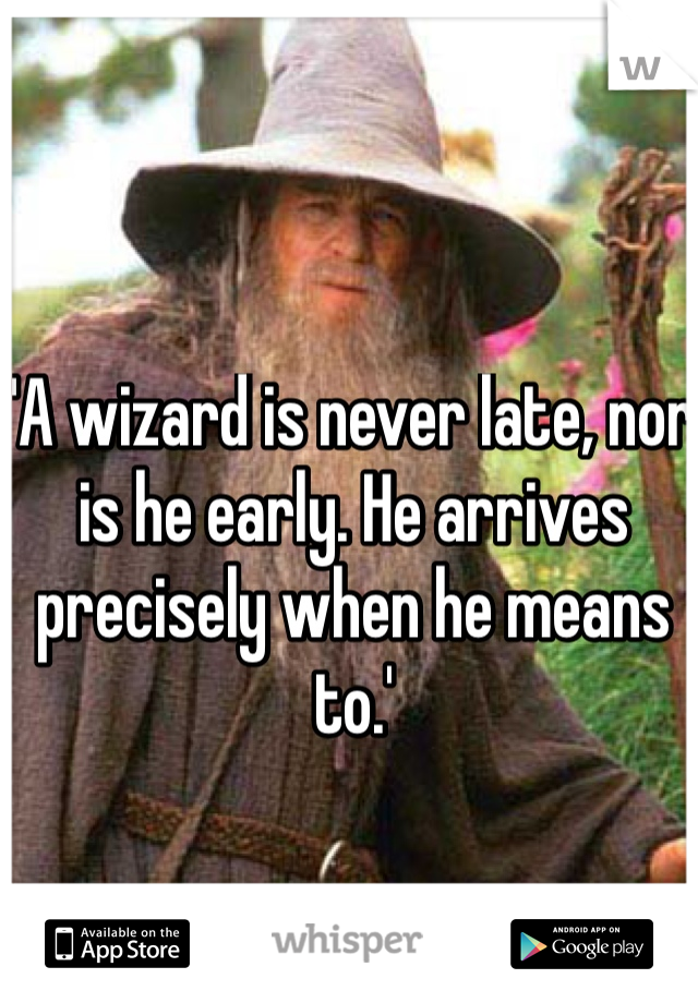'A wizard is never late, nor is he early. He arrives precisely when he means to.'
