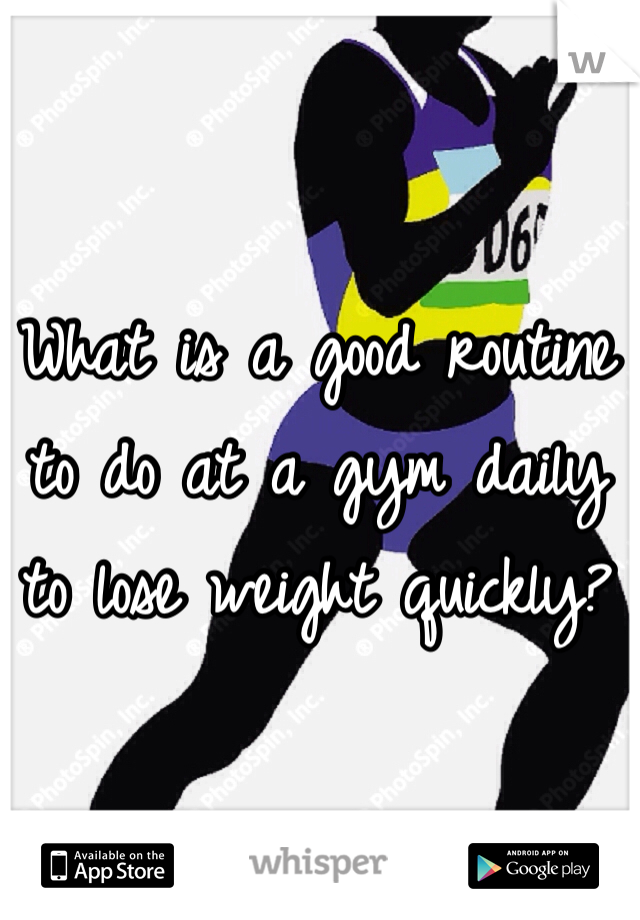 What is a good routine to do at a gym daily to lose weight quickly?
