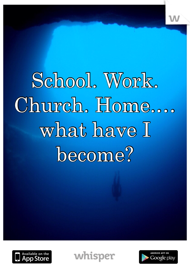 School. Work. Church. Home.… what have I become?