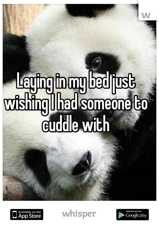 Laying in my bed just wishing I had someone to cuddle with