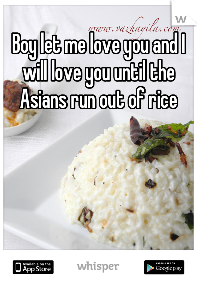 Boy let me love you and I will love you until the Asians run out of rice