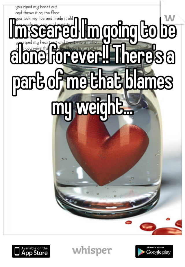 I'm scared I'm going to be alone forever!! There's a part of me that blames my weight...