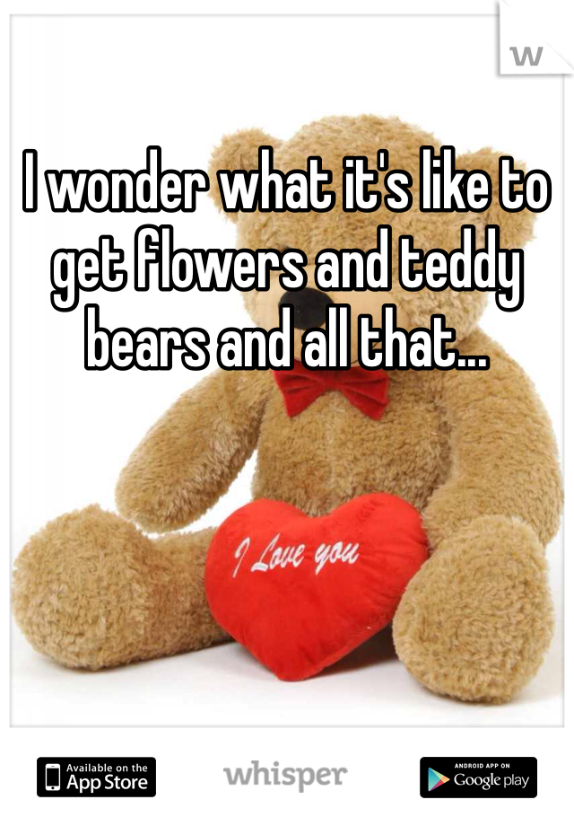 I wonder what it's like to get flowers and teddy bears and all that...