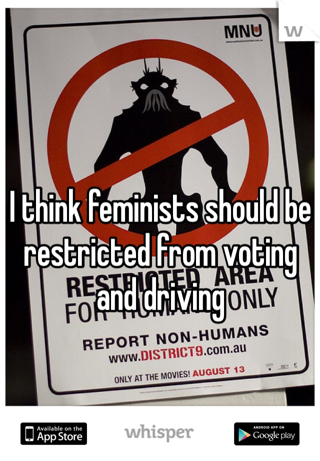 I think feminists should be restricted from voting and driving