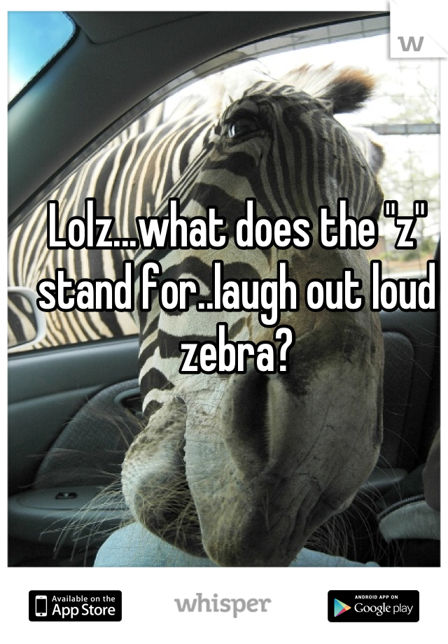 """Lolz...what does the """"z"""" stand for..laugh out loud zebra?"""