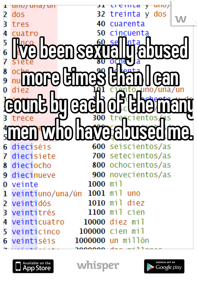 I've been sexually abused more times than I can count by each of the many men who have abused me.