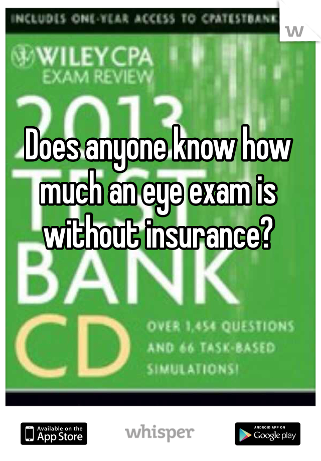 Does anyone know how much an eye exam is without insurance?