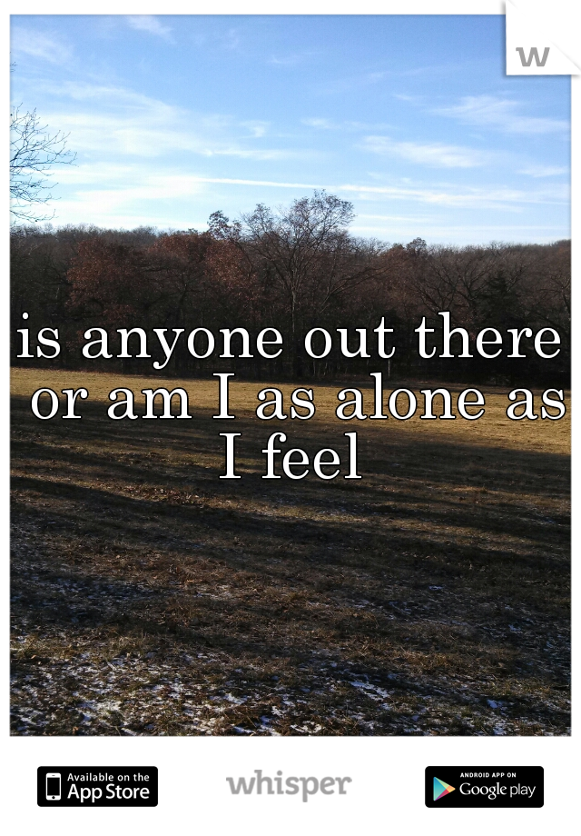 is anyone out there or am I as alone as I feel
