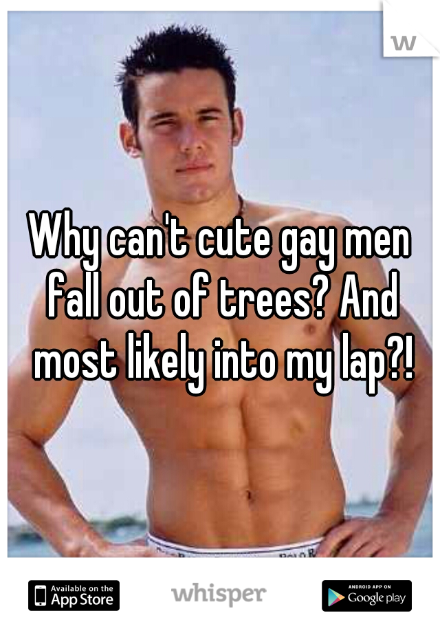 Why can't cute gay men fall out of trees? And most likely into my lap?!