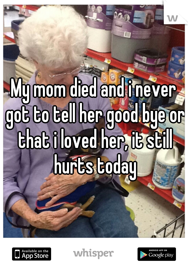 My mom died and i never got to tell her good bye or that i loved her, it still hurts today