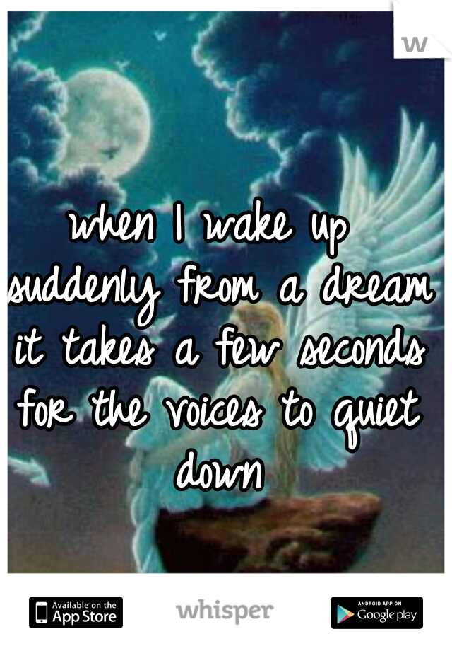 when I wake up suddenly from a dream it takes a few seconds for the voices to quiet down