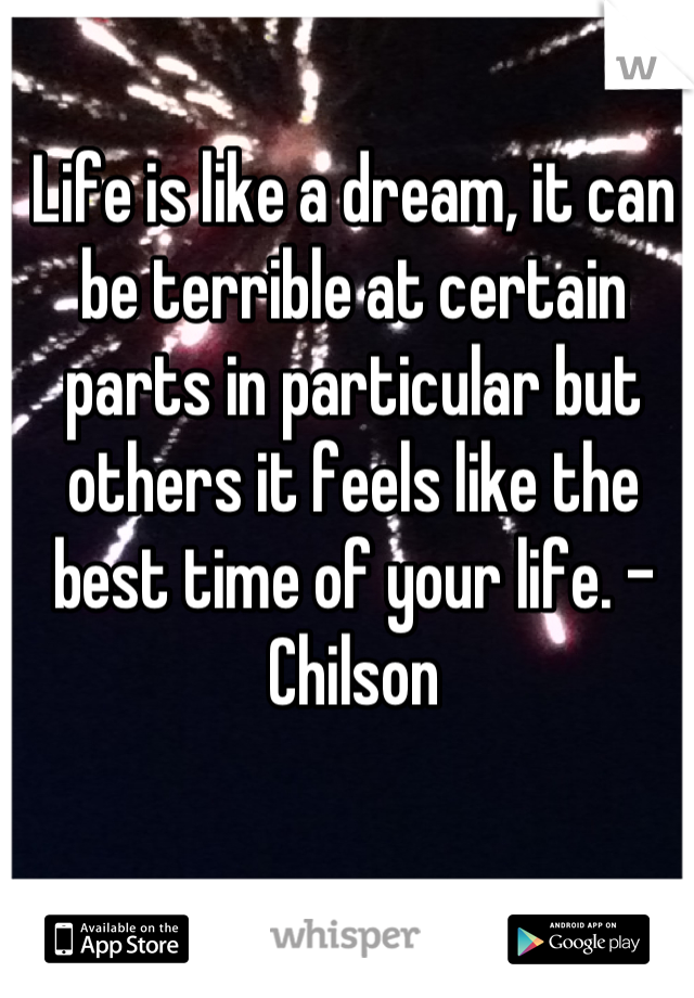 Life is like a dream, it can be terrible at certain parts in particular but others it feels like the best time of your life. -Chilson