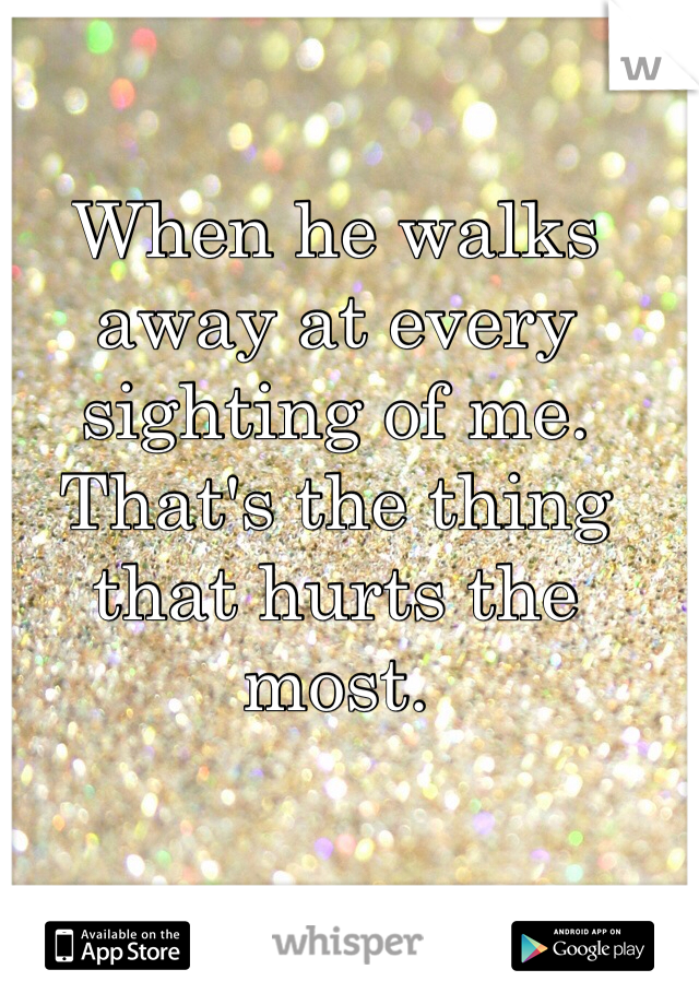 When he walks away at every sighting of me. That's the thing that hurts the most.