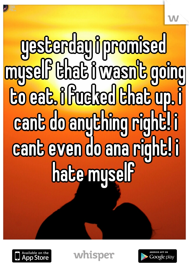 yesterday i promised myself that i wasn't going to eat. i fucked that up. i cant do anything right! i cant even do ana right! i hate myself
