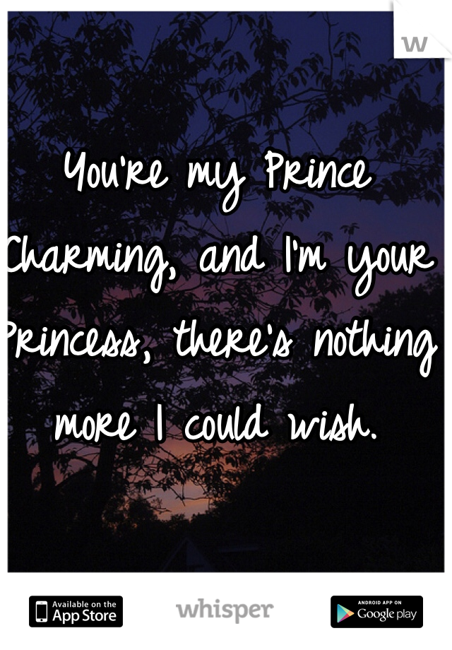 You're my Prince Charming, and I'm your Princess, there's nothing more I could wish.