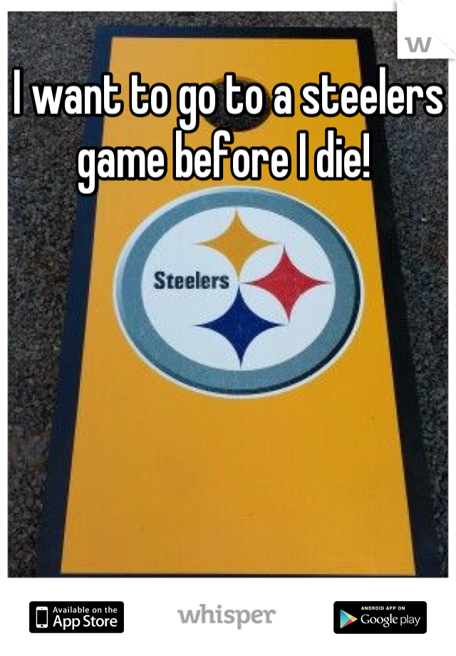 I want to go to a steelers game before I die!
