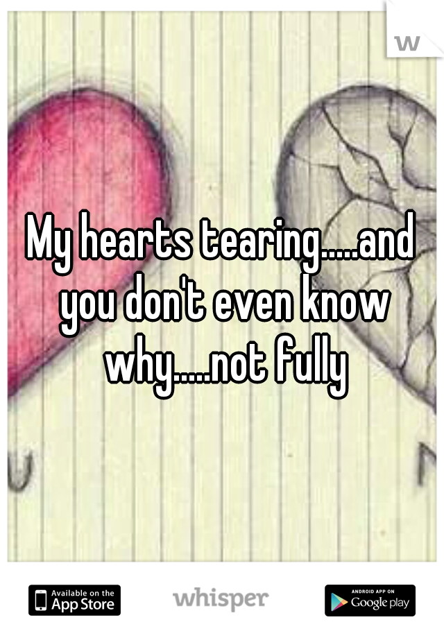 My hearts tearing.....and you don't even know why.....not fully