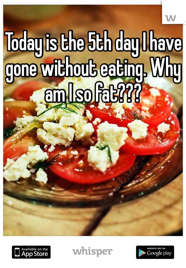 Today is the 5th day I have gone without eating. Why am I so fat???