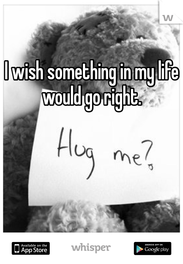 I wish something in my life would go right.