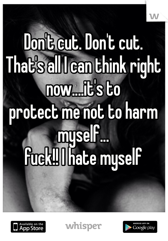 Don't cut. Don't cut.  That's all I can think right  now....it's to  protect me not to harm myself... fuck!! I hate myself