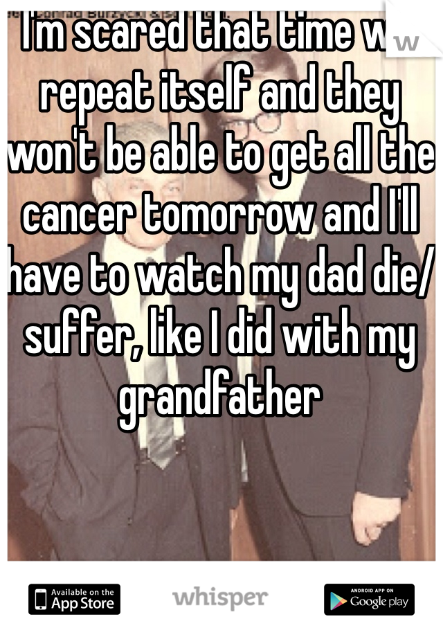 I'm scared that time will repeat itself and they won't be able to get all the cancer tomorrow and I'll have to watch my dad die/suffer, like I did with my grandfather