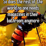 So does the rest of the world no one needs magazines in their bathroom anymore