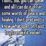 I don't. But you can speak and all I can do is offer some words of peace and healing. I don't pretend to know what goes on, I just try to make it easier.