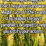 As as civilian I can't stand it when anyone suggests that they understand war.  Maybe turn off the tv and stop reading the govt pamphlets designed to help you justify your actions.