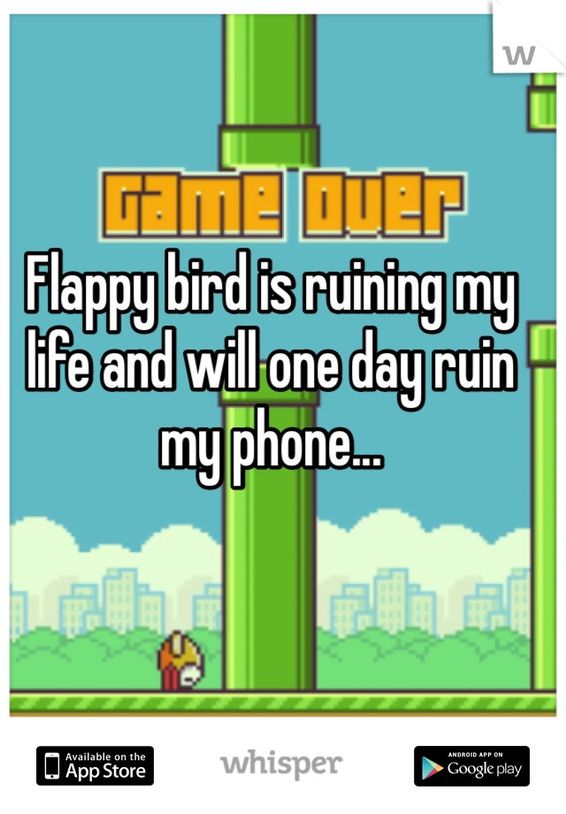 Flappy bird is ruining my life and will one day ruin my phone...