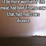 I'd be more worried if the meat had beef from a cow that had mad cows disease