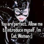 You are perfect. Allow me to introduce myself, I'm Cat Woman ;)