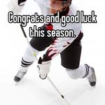 Congrats and good luck this season.
