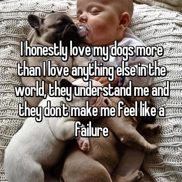 I honestly love my dogs more than I love anything else in the world, they understand me and they don't make me feel like a failure