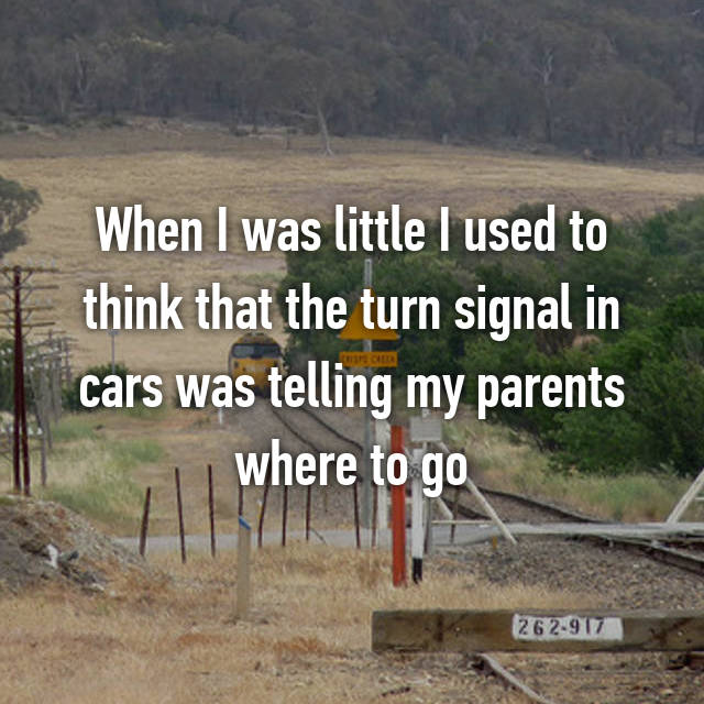 When I was little I used to think that the turn signal in cars was telling my parents where to go