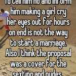 I'd tell him no and inform him making a girl cry her eyes out for hours on end is not the way to start a marriage. Also I think the proposal was a cover for the sexting and nudes.