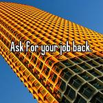 Ask for your job back.