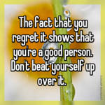 The fact that you regret it shows that you're a good person. Don't beat yourself up over it.