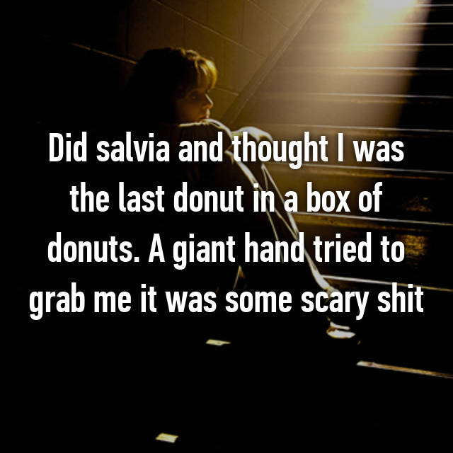Did salvia and thought I was the last donut in a box of donuts. A giant hand tried to grab me it was some scary shit
